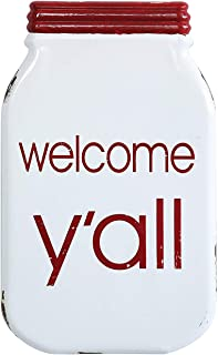 Creative Co-op Welcome Y'all Enameled Mason Jar Wall Sign