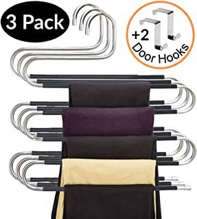 Calido Designs S-Shape Pants Hangers Space Saving Hangers Non Slip Clothes Hangers Stainless Steel Pant Hangers for Jeans Scarf Ties Belts Skirt and Pants Hanger Organizer (3 Pack with 2 Door Hooks)