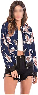 Spring Thin Jackets Women 2019 Stand Collar Printed Bomber Jacket Womens Summer Casual Long Sleeve Slim Coat Female Outerwear