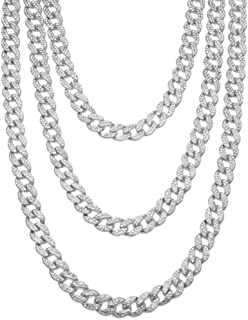 JRjewelry Men's Hip Hop Cuban Link 15mm Fully Iced-Out Tennis Chain Necklace-DL227