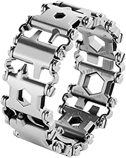 Multi Tool Bracelet,LETIN Stainless Steel Wearable Tread Multifunctional 29 IN 1 Bracelet Screwdriver Tool for Sailing/Travel/Camping Hiking Outdoor Emergency Kit for Christmas Gift (Sliver)