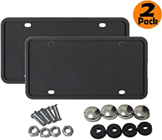 Hhobake Silicone License Plate Frame Universal American Black Auto License Plate Holder, Rain-Proof, Anti-Rust and Anti-Rattle (Black 2 Pack)