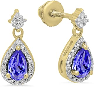 Details about  /Tanzanite 1.35 Ct Gemstone 14k Rose Gold Earrings for Women//Girls