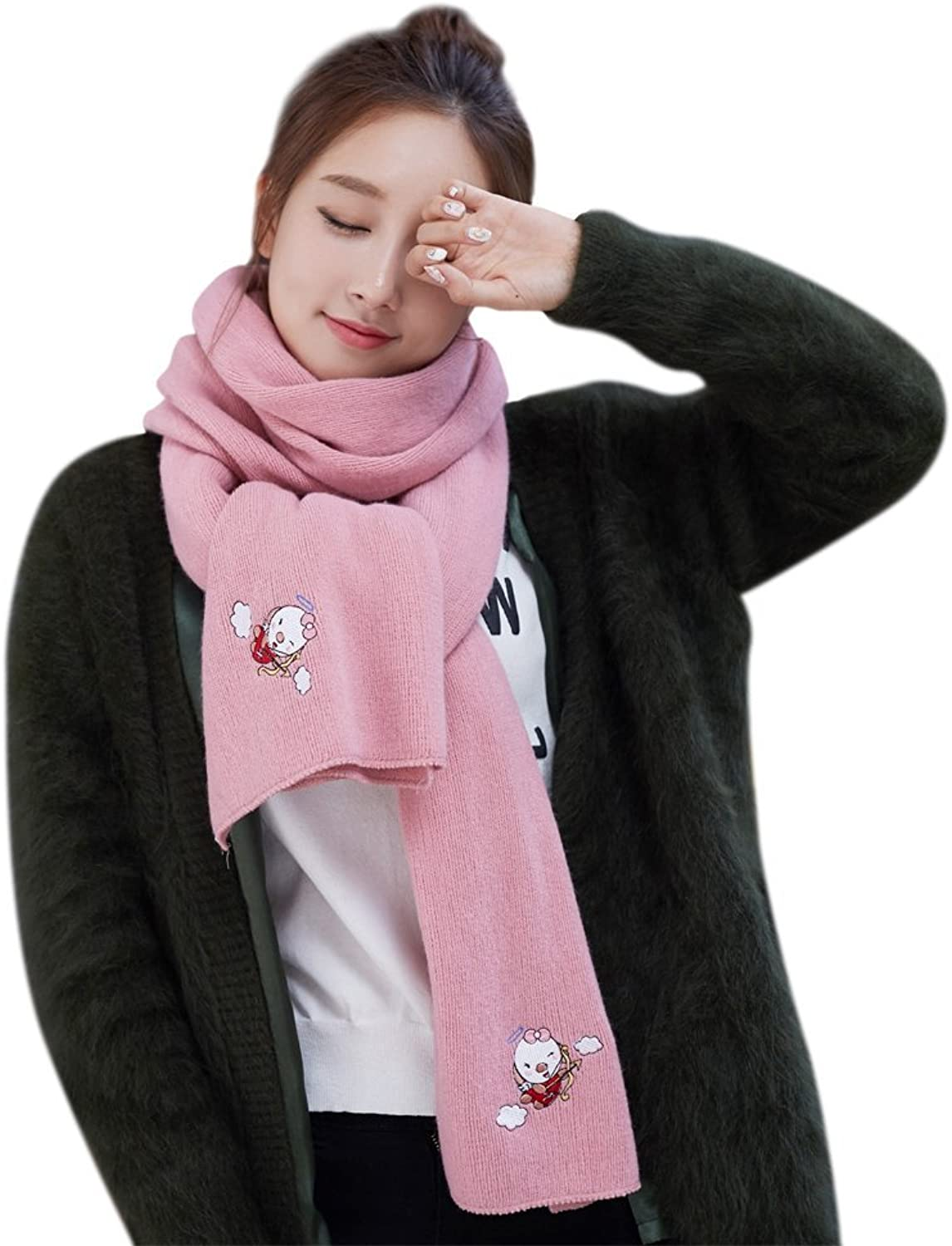 677888 Scarf Female Winter Cartoon Embroidered Cashmere Scarf for Autumn and Winter
