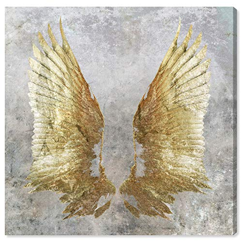"The Oliver Gal Artist Co. Fashion and Glam Wall Art Canvas Prints 'My Golden Wings' Home Décor, 16"" x 16"", Gray, Gold"