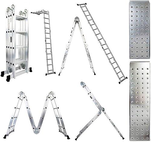 lowest Luisladders Folding Ladder Multi-Purpose lowest Aluminium Extension 7 in sale 1 Step Heavy Duty Combination EN 131 Standard (15.5 Feet) online sale