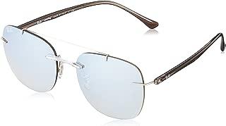 Ray-Ban Men's Injected Man Non-Polarized Iridium Square Sunglasses, Transparent, 55.2 mm