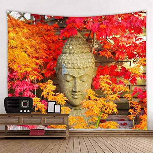 KHKJ Flor de Buda Estatua Planta Tapiz montado en la Pared Mandala Bohemia cojín para Dormir de Viaje decoración del hogar Obra de Arte A2 200x150cm