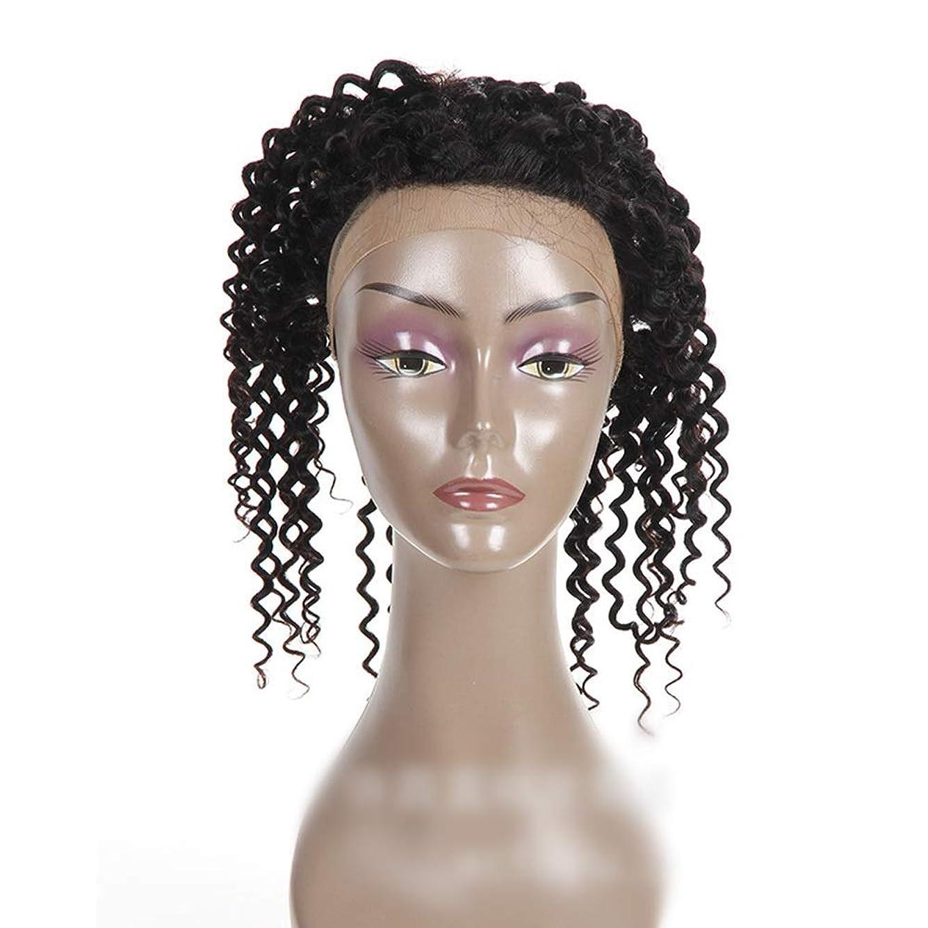 かつら ナチュラルカラー360レース前頭閉鎖ブラジル人間の髪の毛深い波カーリーフリーパートヘアエクステンションショートカーリーウィッグ (色 : 黒, サイズ : 18 inch)