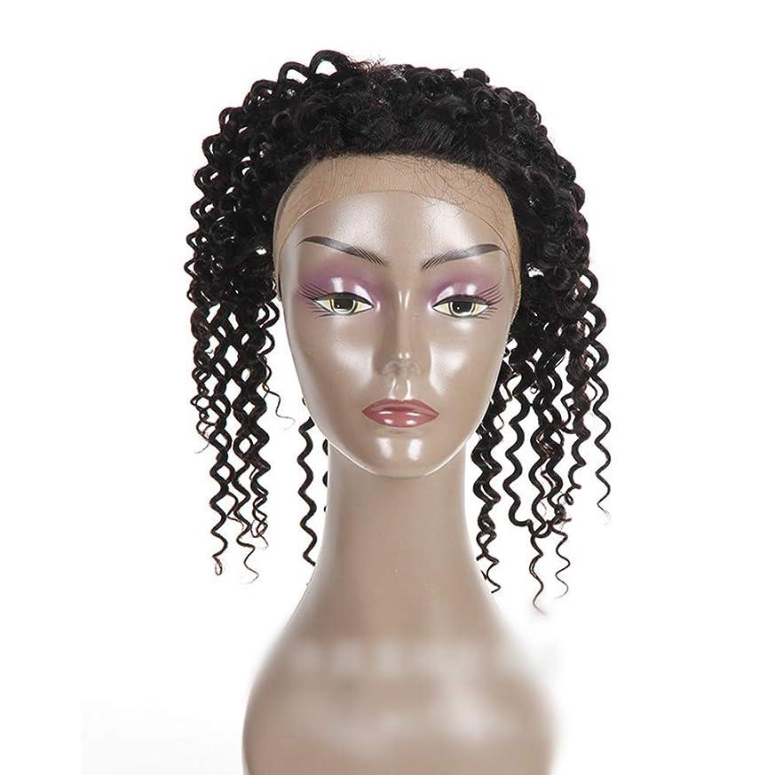 パースブラックボロウピストルコンバーチブルBOBIDYEE ナチュラルカラー360レース前頭閉鎖ブラジル人間の髪の毛深い波カーリーフリーパートヘアエクステンションショートカーリーウィッグ (色 : 黒, サイズ : 18 inch)