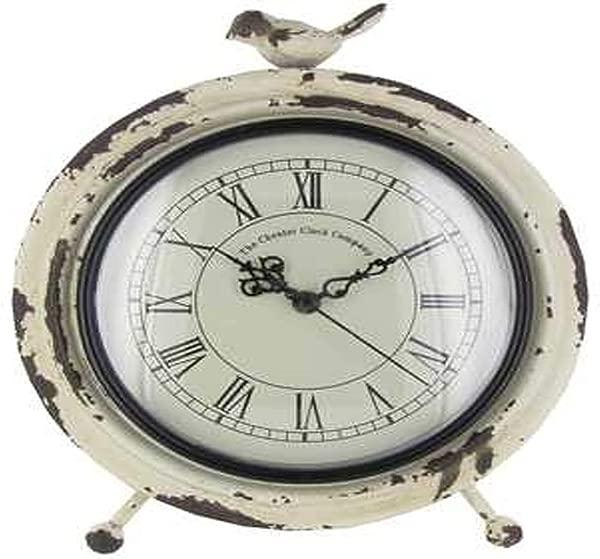 Antique Roman Numerical Table Clock Quartz Movement With Bird Statue On Top White Metal 10 H X 8 D