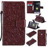 KKEIKO Hülle für LG G5, PU Leder Brieftasche Schutzhülle Klapphülle, Sun Blumen Design Stoßfest Handyhülle für LG G5 - Braun