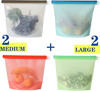 ALANCARL Silicone Bags,Reusable Silicone Food Airtight Seal Food Preservation Sandwich Ziplock Storage Bags,Food Grade Versatile Bag Container for Vegetable,Liquid,Snack,Meat,Lunch,Fruit (50oz+30oz)x2