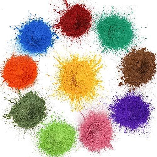 MOSUO Pigmentos en Polvo,20g*10 Colores Natural Mica Tintes para teñir Resina Epoxi, Jabones, Slime, Cera, Pintura, Vela, Uñas, Cosmético y Arte de Bricolaje - Metalizados Colorante