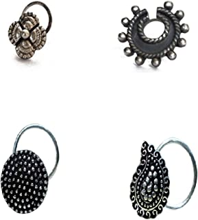 Abhooshan Combo Set of 4 Designer Antique Oxidized Silver Alloy Nose Pin Studs for Women and Girls Stylish with Piercing Nose