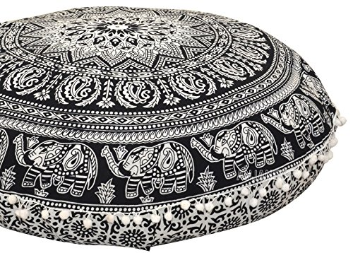 ANJANIYA - 32' Elephant Mandala Bohemian Yoga Meditation Floor Pillow Cover Comfortable Home Bed Sofa Cushion Couch Seating Large Zipped Throw Hippie Decorative Boho Indian (Black & White, 32 inches)