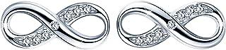 Infinite U - Orecchini a perno in argento Sterling 925 con zirconia cubica, simbolo dell'infinito, regalo di Natale e comp...