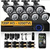 Gowe 1280* 720p HD Caméra de vidéosurveillance Système de caméra de sécurité d'extérieur 1080p HDMI CCTV Surveillance vidéo 8CH kit DVR AHD Camera Set