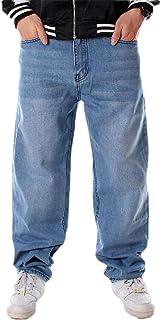 YYG Men Straight Leg Plus Size Casual Loose Hip Hop Classic Jeans Denim Pants