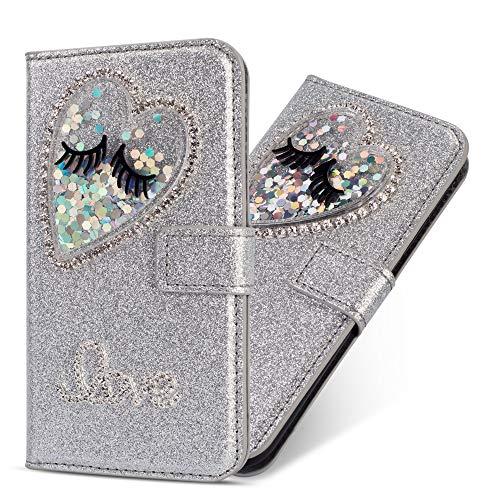 Miagon Hülle Glitzer für Samsung Galaxy A50,Luxus Diamant Strass Herz PU Leder Handyhülle Ständer Funktion Schutzhülle Brieftasche Cover,Silber