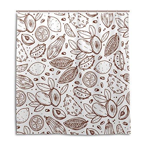 jstel Decor Vorhang für die Dusche Fruit Icons Muster Print 100% Polyester Stoff 167,6x 182,9cm für Home Badezimmer Deko Dusche Bad Vorhänge mit Kunststoff Haken