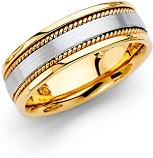 Wedding Band Solid 14k Yellow & White Gold Rope Edge Ring Comfort Fit Two Tone Mens Womens 6 mm