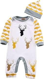 Cute Deer Baby Boys Girls Long Sleeve Bodysuit Romper Jumpsuit Hat Outfits Set