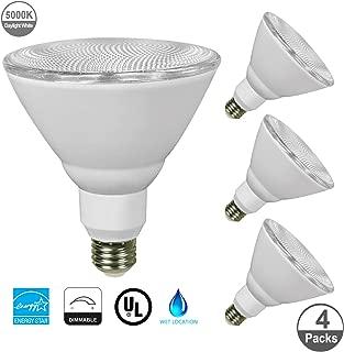 JULLISON 4 Packs PAR38 LED Bulb, 120V/13W/980Lumens/40 Degrees Beam, 90W Equivalent, 5000K Daylight White, CRI80+, Dimmable, Glass Lens, Outdoor Flood, E26 Base, UL & Energy Star & FCC, Wet Location