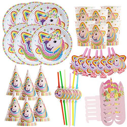WENTS Party Set Einhorn Muster Party Set für Geburtstag Kindergeburtstag Mottoparty, Tischdeko Partygeschirr Set für 6 Personen