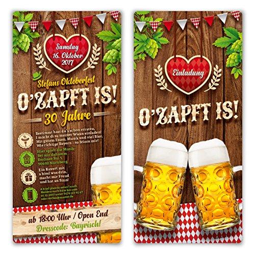Einladungskarten Oktoberfest Geburtstag (20 Stück) Bayern Einladungen - O'zapft is! in Rot