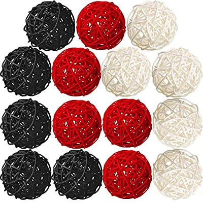 Yaomiao 15 Pieces Wicker Rattan Balls Decorative Orbs Vase Fillers for Craft, Party, Valentine's Day, Wedding Table Decoration, Baby Shower, Aromatherapy Accessories, 1.8 Inch