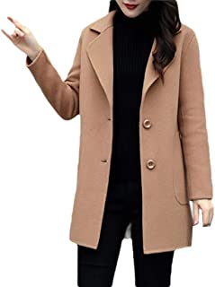 Howely Women Turn Down Collar Winter Wool Blend Single Button Coat Jacket
