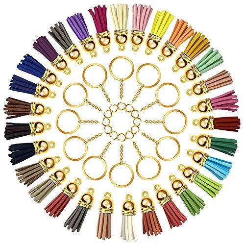 Haude 180 llaveros con cadena y borla colgantes a granel para llavero, manualidades, pendientes, pulseras, joyería, oro