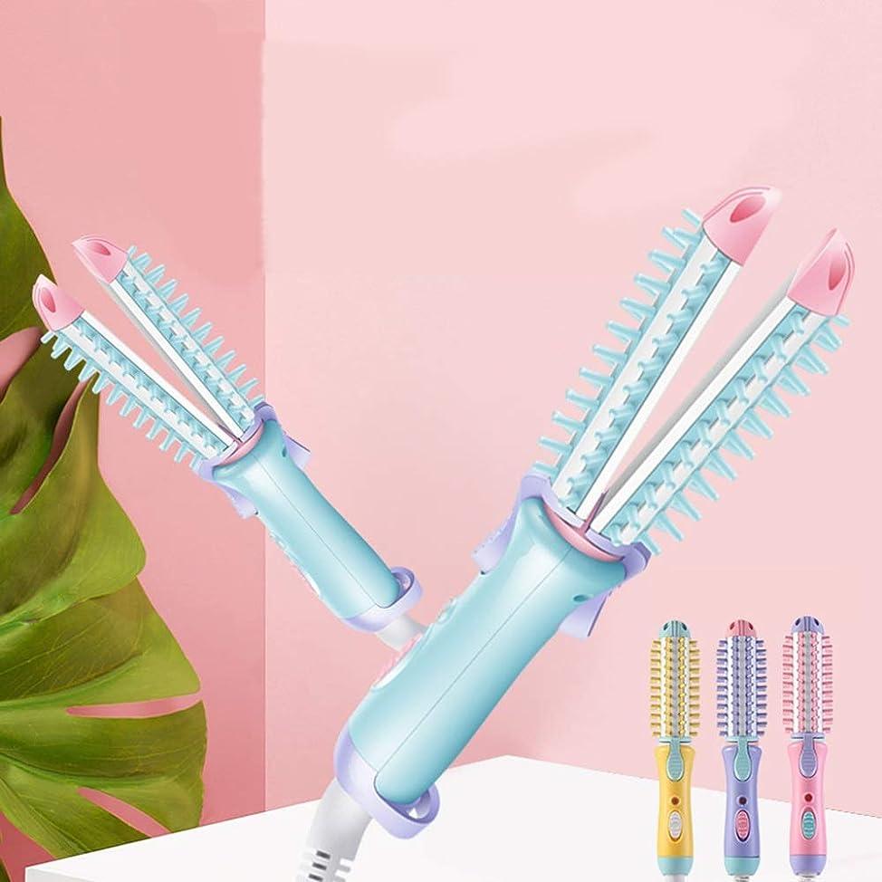貫通する伝記不公平ヘアアイロン 2WAY ストレート カール 両用 ミニポータブル プロ仕様 15mmフォロー中 200℃恒温制御 髪を傷つけないでください 4色の選択 (Color : 青)