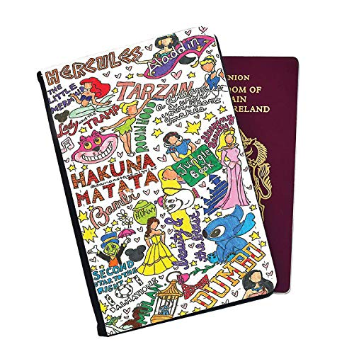 Disney Characters Drawing - Lion King Snow White Aladdin Hercules Tarzan Bambi Beauty and The Beast Dumbo Passport Cover Wallet Style with Card Insert Pockets