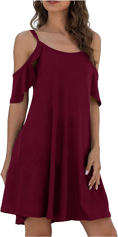 MASZONE Sexy Dress for Women, Womens Summer Cold Shoulder Criss Cross Neckline Short Sleeve Casual Tunic Top Dress