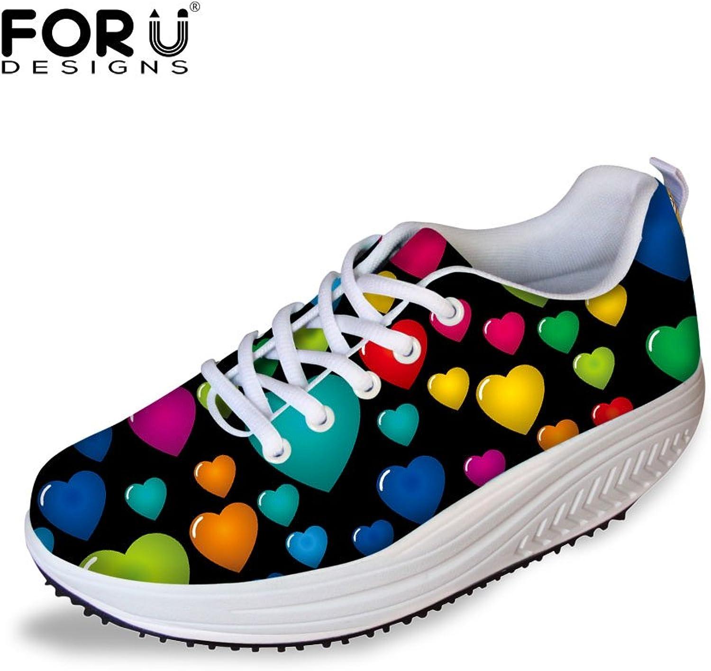 FOR U DESIGNS colorful Graffiti Women's Comfort Wedges Platform Walking shoes