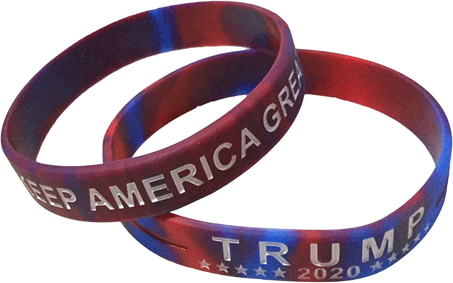 Fuguan 2pcs Donald Trump Silicone Bracelets Wristband Jewelry for President 2020 America Presidential Election(Red 2)