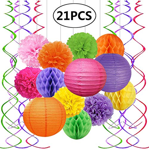 FECEDY Colorful Paper Lantern Pom poms Honeycomb Ball Swirl Streamers for Birthday Wedding Engagement Bridal Shower Baby Shower Bachelorette Party Decorations