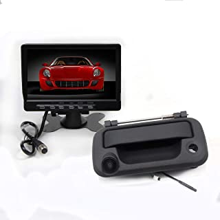 RedWolf Black Tailgate Handle Rear View Reverse Camera + 7 Inch LCD Backup Monitor Kit Removable Parking Line for Ford 2004-2014 F150/ 2009-2016F250/F350 Pickup Trucks