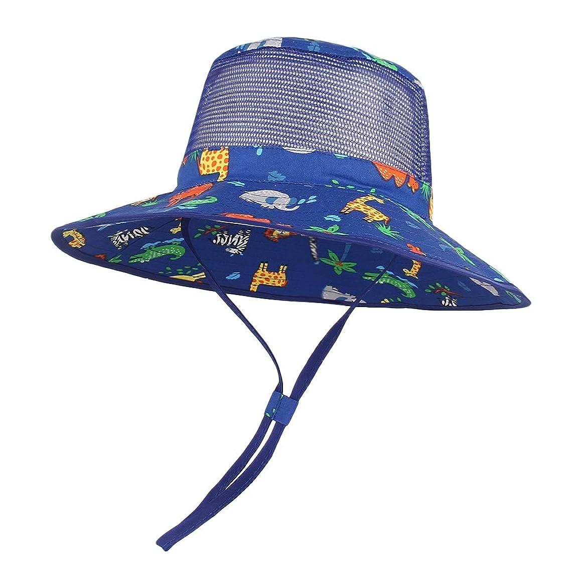 信頼性のある解明ハードウェア[Y-BOA] ベビーハット 日よけ帽子 サンハット サファリハット つば広 UVカット メッシュ 通気 子供 キッズ 女の子 男の子 動物柄 可愛い 海遊び 外出 旅行 ブルー