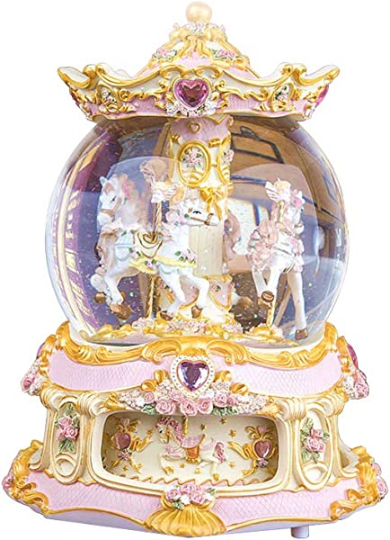 LOHOME Rococo Style Rotate Music Box Luxury Color Change LED Light Luminous Rotating 3 Horse Carousel Horse Crystal Ball Castle Perfect Christmas Birthday Gift Valentine S Day Gold