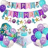 Sirena Decoración Cumpleaños para Niña, Morado Feliz cumpleaños Conjunto de Pancartas Sirena Papel de Aluminio Globo Látex Fiesta en Globo Decoración Chica Novia