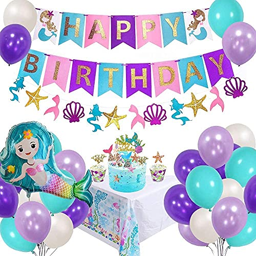 AYUQI Sirena Decoración de cumpleaños para niña, Morado Feliz cumpleaños Conjunto de pancartas Sirena Papel de Aluminio Globo Látex Fiesta en Globo Decoración Chica Novia