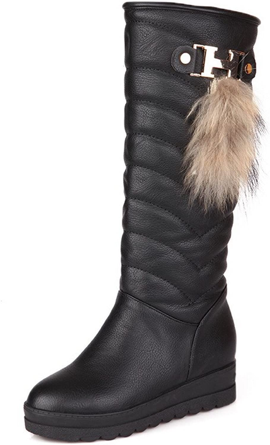 WeenFashion Womens Round Toe Kitten Heels PU Solid Boot with Metal Piece, Black, 5 B(M) US