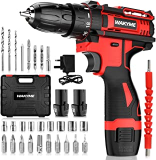 """Cordless Drill Driver, WAKYME 12.6V Power Drill 30Nm, 8+3 Clutch, 3/8"""" Keyless Chuck, Variable Speed & Built-in LED Electr..."""