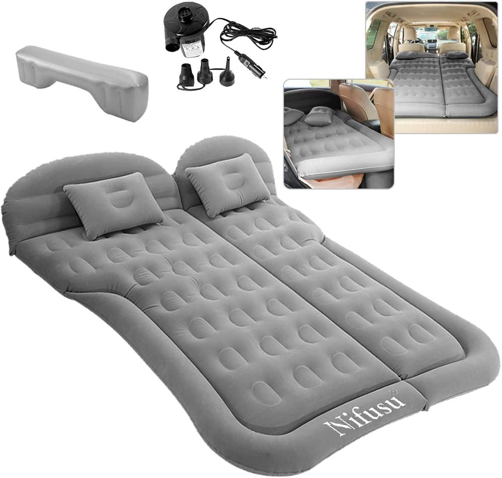 Nifusu SUV Air Mattress Camping Beds Double-Sided Portable Sleeping Pad for Home Inflatable Thickened Car Mattress Backseat with Two Pillow and Electric Air Pump Outdoor and Travel