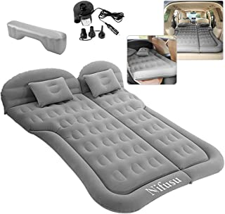 SUV Air Mattress Camping Beds, Inflatable Thickened Car Mattress Backseat with Two Pillow and Electric Air Pump, Double-Si...