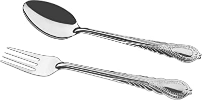 12 Pieces Forks and Spoons Stainless Steel Cutlery Flatware Dishwasher Safe Silverware Smooth Edge Rust and Heat Resistant