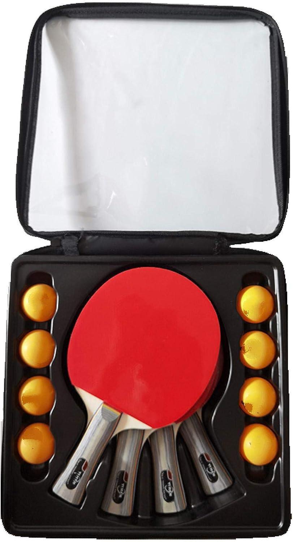 FQYYDD Ping Pong Paddle Juego de Raqueta de Tenis de Mesa de Goma de Doble Cara Profesional con 4 Palas + 8 Bolas, Palo de Ping Pong de Carbono,